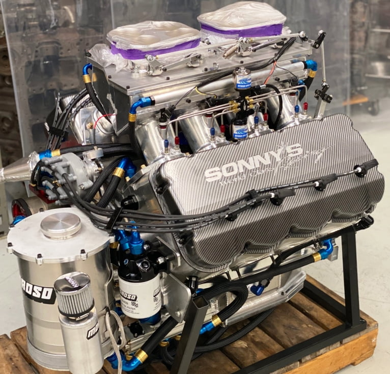 Sonny's 903 cu. in. 5.3 Bore Spacing Hemispherical Headed Nitrous Top Sportsman Engine - Sonny's Racing Engines & Components